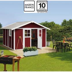 Gartenhaus aus Kunststoff 11,2m² DECO rot & weiß von Grosfillex