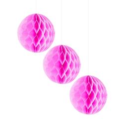 3 Wabenbälle Honeycomb Balls Papier Hochzeit Geburtstag Baby Shower Party Papier Deko - rosa