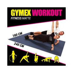 GYMEX Yogamatte GYMEX Fitness-Matte, XXL extra groß, rollbar, für Yoga, Sport & Fitness grau 180 cm x 240 cm x 0,5 cm