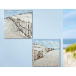 Gemälde 'Dünenzaun' 2-teilig, 3D, braun, blau, sand handgemalt auf Leinen 40 ...