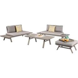 Sitzgarnitur Sitzgruppe Holz Garten Lounge Set Gartenmöbel Massiv Tisch Sofa