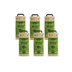 NERO Kohlekorb BIO Grill Holzkohle Briketts - 6 x 2,5kg Sack - Garantiert ohne Tropenholz - Holz aus Deutschland