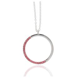 J & S JULIASS WELT Collier Collier Kreis mit Kristallsteinen, inkl. Schmucketui rosa
