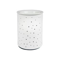 ONVAYA Duftlampe Porzellan Duftlampe DOTS, 1 Stück, Elektrisch, Weiss, 15 cm, für die Steckdose, mit Birne, Aromalampe