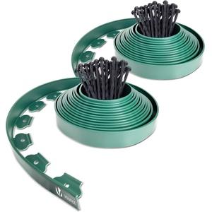 VOUNOT Flexible Rasenkante Kunststoff, mit 60 Erdanker, Länge 20m Höhe 5cm, Grün