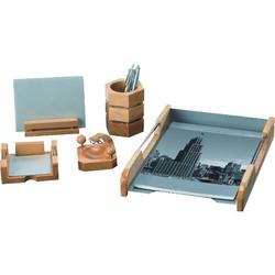 Schreibtisch-Set 5-teilig naturholz/silber