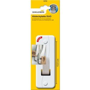 Schellenberg 53703 Abdeckplatte Duo für Unterputz-Gurtwickler System Maxi: Rolladengurte bis 23 mm Breite, Lochabstand 135 mm, einfache Montage ohne Ausbau des Rolladen-Gurtbandes