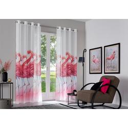Gardine Flamingo, my home, Ösen (2 Stück) 135 cm x 295 cm