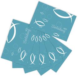 6 Einladungskarten mit Fisch Taufe Kommunion Konfirmation Geburtstag