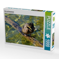 Ente auf Baumstamm Lege-Größe 64 x 48 cm Foto-Puzzle Bild von Babett''s Bildergalerie Puzzle