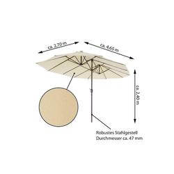 VCM Sonnenschirm XXL Doppelsonnenschirm Creme mit Kurbel