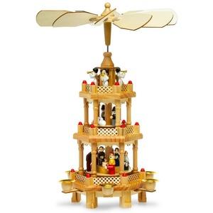 SIKORA Weihnachtspyramide P34 Tradition aus Holz mit 3 Etagen H:35cm
