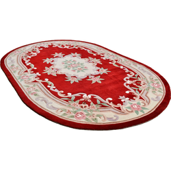 Teppich Ming, THEKO, oval, Höhe 14 mm, hochwertiges Acrylgarn rot 120 cm x 170 cm x 14 mm