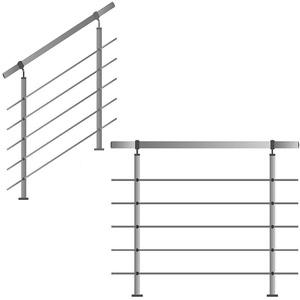 Edelstahl-Handlauf Geländer für Treppen Brüstung Balkon mit/ohne Querstreben (bis 1.5m inkl. 2 Pfosten 5 Querstangen)