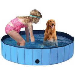 COSTWAY Badewanne Haustierpool Swimmingpool Hundebadewanne Pet Bath Pool blau 160 cm x 160 cm x 30 cm