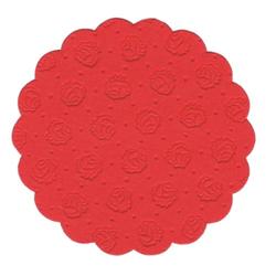 Papstar Tassen-Untersetzer rund, Tissue, 9-lagig, Ø 9 cm, 1 Packung = 20 Untersetzer, rot