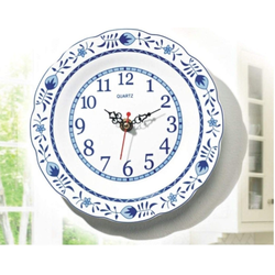 JOKA international Wanduhr Wanduhr Keramik mit Zwiebelmuster, Ø 20 cm