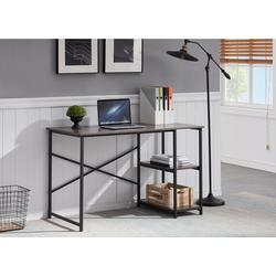HomeGuru Schreibtisch Schreibtisch mit 2 Regale, Industrie-Design, Vintage, 96-120X60X75 cm 120 cm x 75 cm x 60 cm