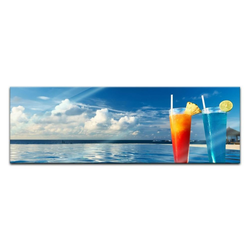 Bilderdepot24 Glasbild, Glasbild - Cocktail am Swimmingpool 120 cm x 40 cm