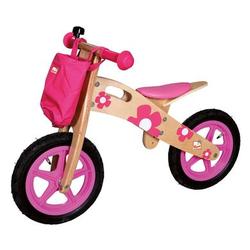 Bino Laufrad Flobi aus Holz, rosa mit Blumen