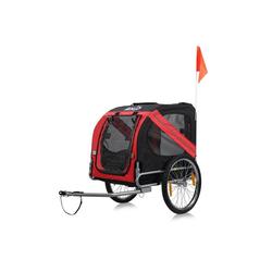 zoomundo Fahrradhundeanhänger Hundeanhänger Fahrradanhänger für Hunde - in Rot/Schwarz - Silver Frame
