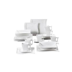 MALACASA Kombiservice FLORA (30-tlg), Porzellan, 30 tlg. Cremeweiß Porzellan Geschirrset