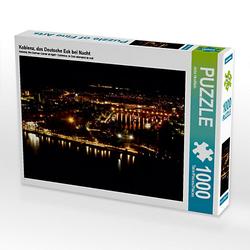 Koblenz, das Deutsche Eck bei Nacht Lege-Größe 64 x 48 cm Foto-Puzzle Bild von Jutta Heußlein Puzzle