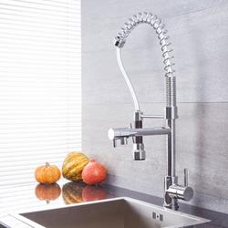 Spiralfeder-Küchenarmatur mit Hahn und ausziehbarer Spülbrause – Chrom – Como, von Hudson Reed