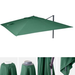 Bezug für Luxus-Ampelschirm MCW-A96, Sonnenschirmbezug Ersatzbezug, 3x3m (Ø4,24m) Polyester 2,7kg ~ dunkelgrün