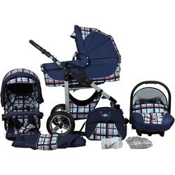 bergsteiger Kombi-Kinderwagen Capri, blue stripes, 3in1, (10-tlg), Made in Europe