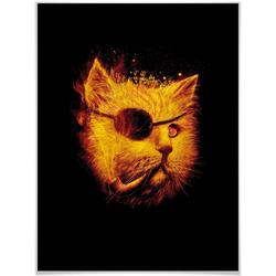 Wall-Art Poster Katze Pirat Kater Dedektiv Schwarz, Tiere (1 Stück), Poster, Wandbild, Bild, Wandposter 30 cm x 24 cm x 0,1 cm