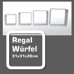 Regal-Würfel weiß m. Wandaufhängung