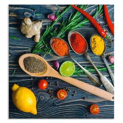 Artland Küchenrückwand Gewürze in Metalllöffeln, (1-tlg) 60 cm x 65 cm x 0,3 cm