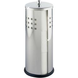 WENKO Ancona Toilettenpapier-Ersatzrollenhalter, Geschlossener Ersatzrollenhalter für 3 Toilettenpapierrollen, 1 Stück, glänzend