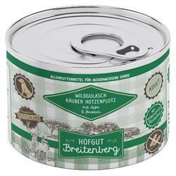 (8,70 EUR/kg) Hofgut Breitenberg Wildgulasch Räuber Hotzenplotz mit Apfel und Brokkoli 200 g - 12 Stück