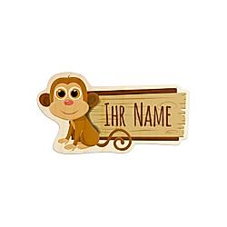 Personalisiertes Holz-Türschild mit Namen (Motiv: Affe)