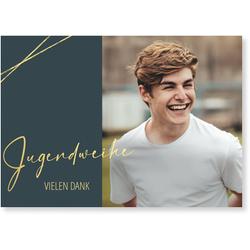 Jugendweihe Dankeskarten (10 Karten) selbst gestalten, Goldene Jugendweihe Danke in Grau - Grau