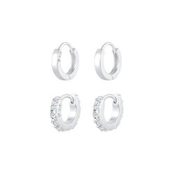 Elli Elli Ohrringe Creolen Glanz Kristalle Set 925 Silber