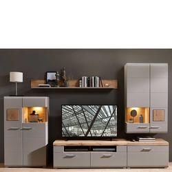 Wohnzimmerwand in Grau und Eiche Optik LED Beleuchtung (5-teilig)