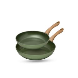 JUST VEGAN® Pfannen-Set CeraVegan, Aluminium (Set, 2-tlg., 2 Pfannen), mit pflanzlicher Keramik-Antihaftbeschichtung auf Basis von Avocado-Öl