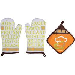 stuco Topfhandschuhe Gustoso, (Set, 3-tlg., bestehend aus 2x Ofenhandschuh, 1x Topflappen)