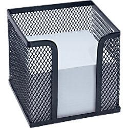 Wedo Zettelbox Mesh /65701, schwarz, Zettelbox inkl. Papier, 110 x 100 x 100 mm