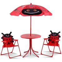 COSTWAY Kindersitzgruppe 3-tlg. rot inkl. Sonnendach