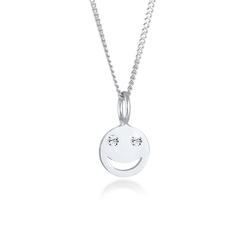 Elli Kette mit Anhänger Smiley Face Emoji Kristalle 925 Silber, Smiley silberfarben