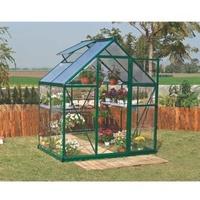 Palram Hybrid 6x4 Alu grün Polycarbonat 0,7 mm/Dach HKP 4 mm 2,3 m² inkl. Schwerlastregalen & Fundament
