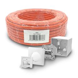 ARLI Netzwerk-Adapter, Cat7 Verlegekabel 50 m S/FTP PIMF Halogenfrei Netzwerkkabel + 1x Cat6a Netzwerkdose Set