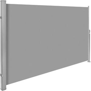 TecTake Seitenmarkise Sonnenschutz Sichtschutz Windschutz | Gehäuse und Standpfosten komplett aus Aluminium | - Diverse Farben und Größen - (Grau | 180x300cm | Nr. 401527)