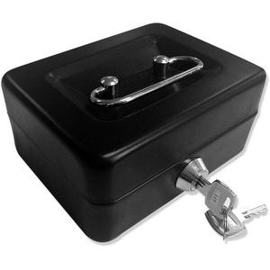 Große Geldkassette mit Tastensperre, tragbare Spardose aus Metall mit Doppelschicht und 2 Schlüsseln für Sicherheit 15 * 12.5 * 7.6 cm (L, Schwarz)