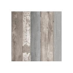 vtwonen Vliestapete Holzbohlen, Holz, (1 St), Grau - 10m x 52cm