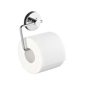 WENKO Milazzo Vacuum-Loc Toilettenpapierhalter, Befestigen ohne Bohren - Einzigartiges Saugsystem, Maße: 13,5 x 17,5 x 16 cm, Farbe: Silber